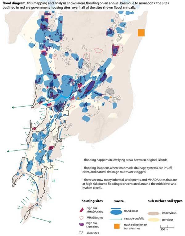 Hydrographic Map of Mumbai large map