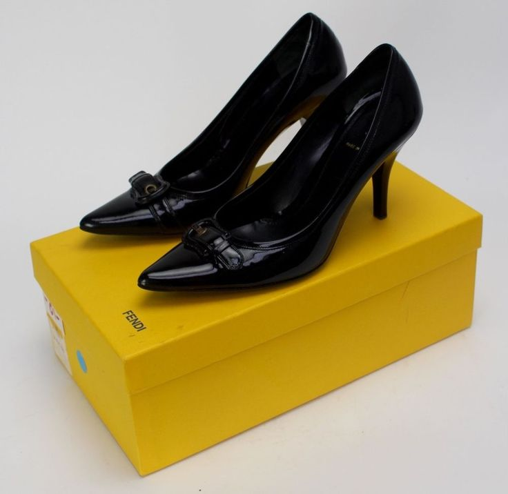 Fendi Pump Black Patent Leather Pointed Toe Size 36.5 Buckle Stacked Wood Heel #Fendi #PumpsClassic