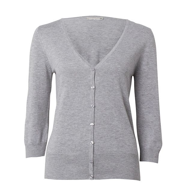 Ladies' 3/4 Sleeve V-Neck Cardigan - Grey Marle