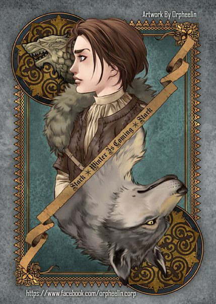 First series of Game of Thrones cards by Orpheelin | Arya and Nymeria