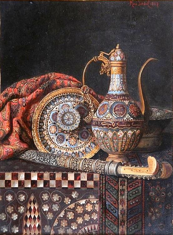 Max Schödl (1834-1921) — Orientalist Still Life  with Water Pitcher and Sword, 1887 (552x749)
