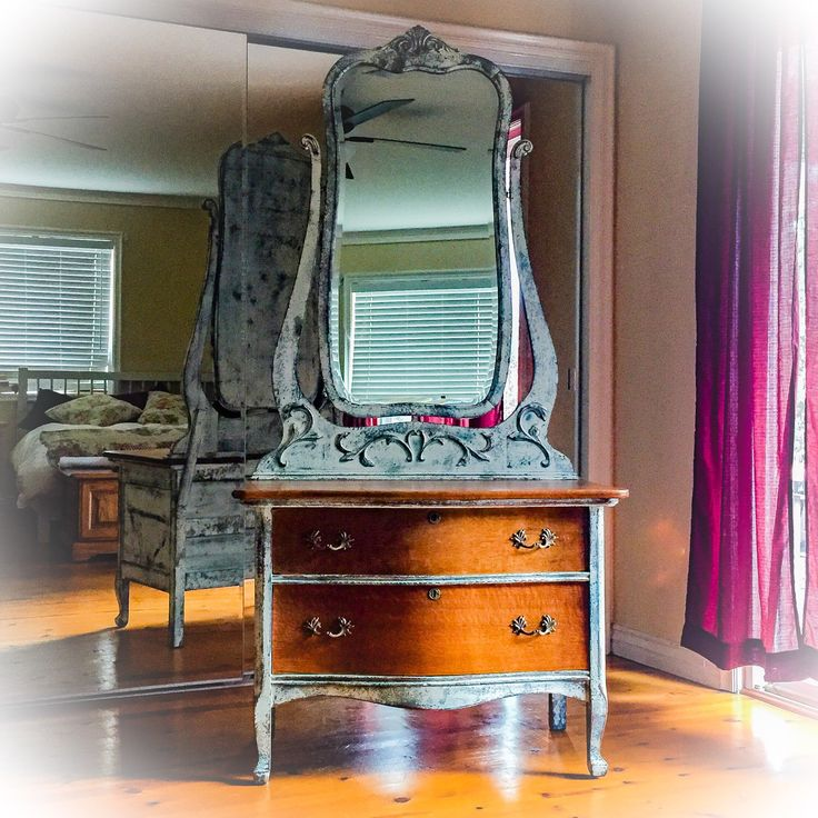 Antique Vanity with full length pivoting mirror