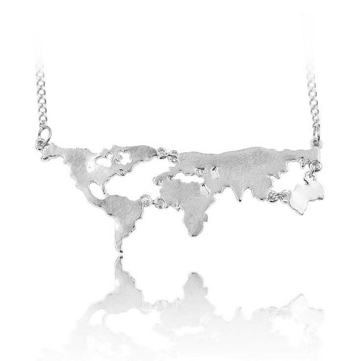 Feed your wanderlust with this cute geographic world map necklace. It depicts five continents that you will dream to dare and discover! The delicate chain is perfect for showing off your taste in jewe
