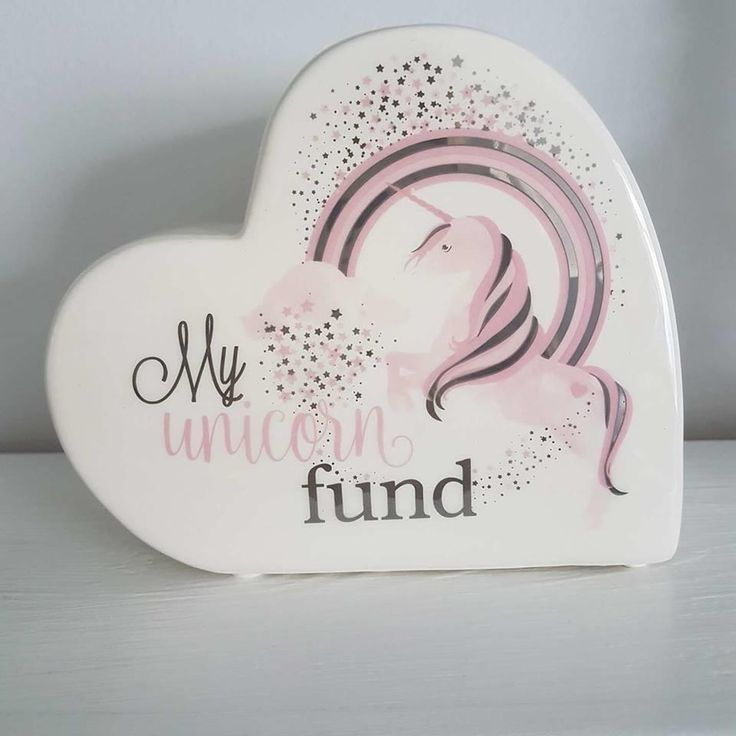 MY UNICORN FUND HEART SHAPED CERAMIC MONEY BOX GIFT BOXED via Bluelake Interiors. Click on the image to see more!  #Unicorn