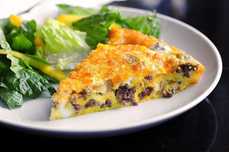 A simple Cheeseburger Frittata made with ground beef, sautéed onions and cheddar.