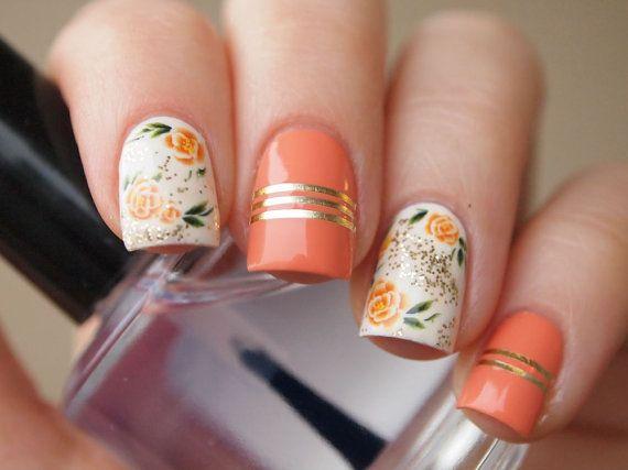 Orange rose nail decals/ Nail art/ Floral