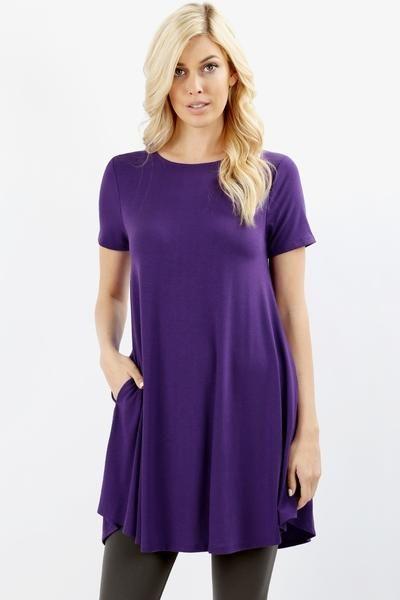 c212f27781a0cf Women s Swing Dress With Pockets Purple Tunic  S-M-L-XL and 1xl-2xl ...