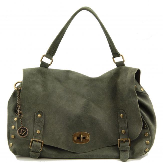 Unisex groene Italiaanse vintage leren messenger bag / schoudertas.Populaire tas voor mannen en vrouwen.De buitenkant van de aktentas is echt kalfsleer met een vintage effect.  -