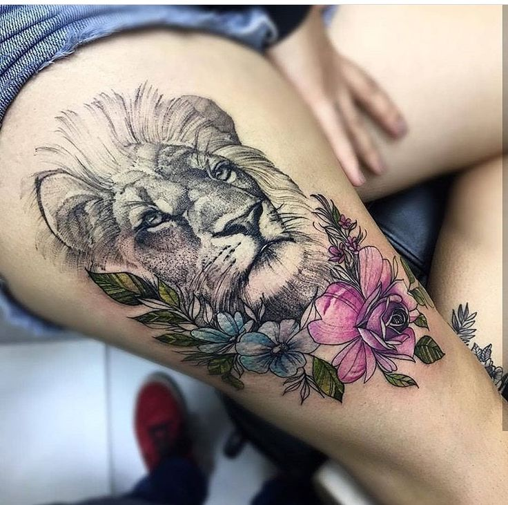 Tattoo Designs For Women S Thighs: Lion With Flowers Tattoo