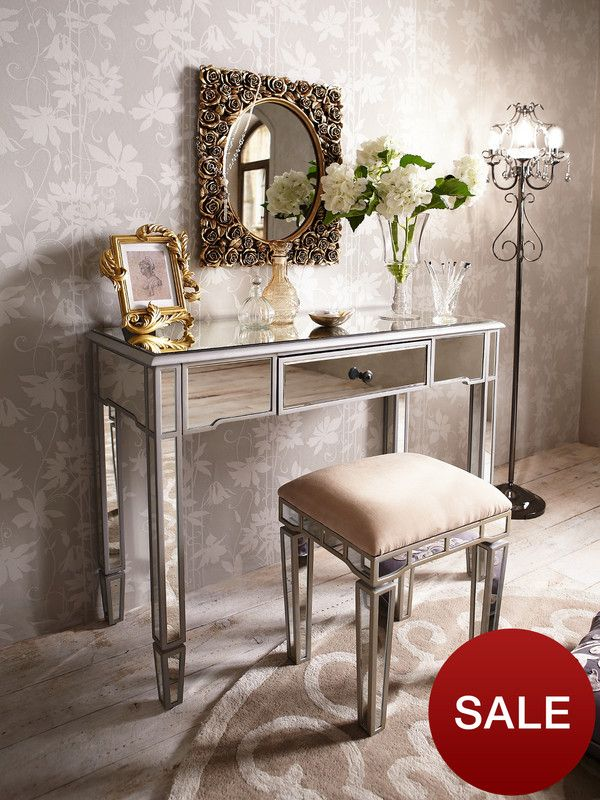 Mirrored Vanity Table And Stool: Laurence Llewelyn-Bowen Vintage Mirror Dressing Table And