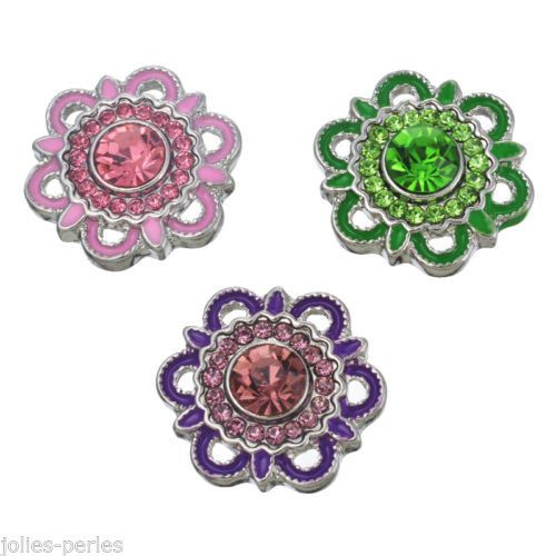 JP 15 PCs Silver Tone Mixed Flower Shape Rhinestone Snap Button Click 1.8x1.95cm