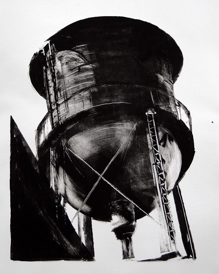 """Steve Magsig, """"Water Tank""""  Monotype print   2012,  10 x 8""""   Edition of 1"""