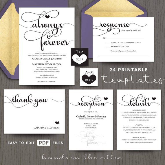 Printable Wedding Invitation Kits Sets In Black Etsy Wedding Invitation Kits Diy Wedding Invitation Kits Wedding Invitations Diy