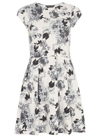 Nude Floral Keyhole Dress