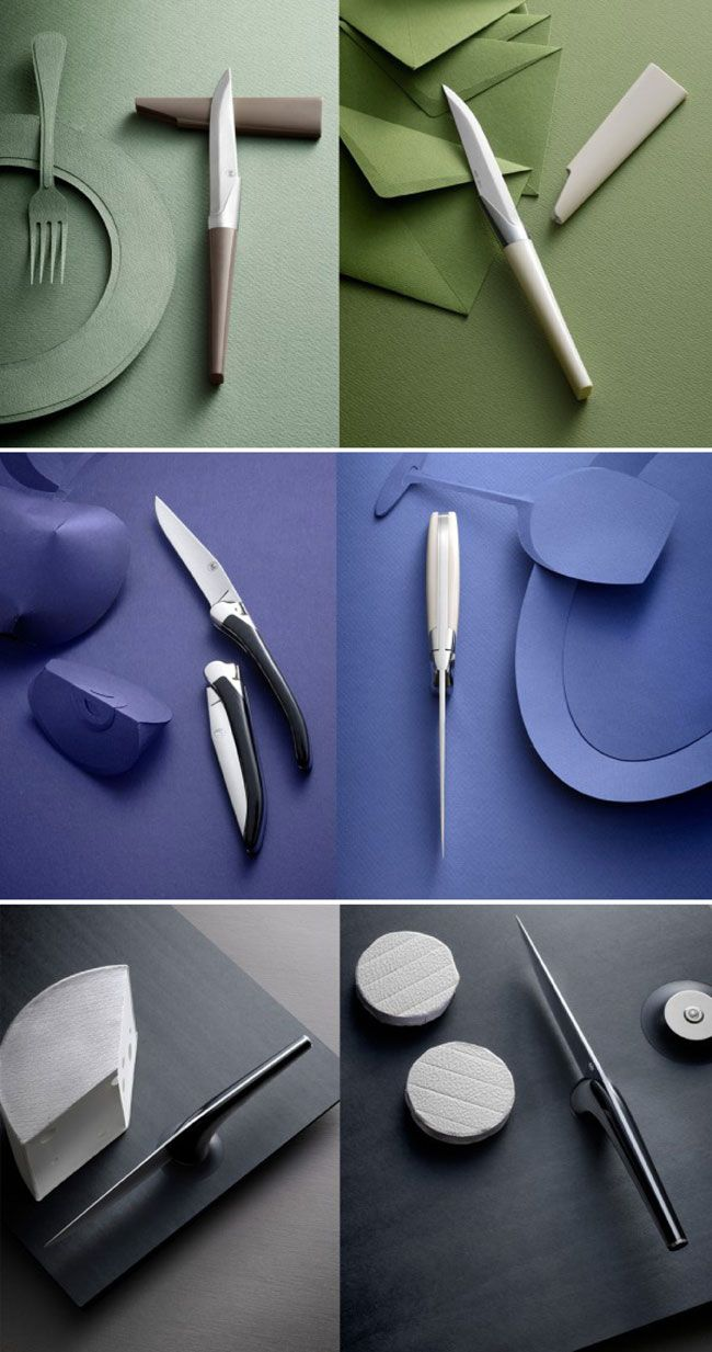 monochromatic paper styling for Cédric Ragot's new knife collection