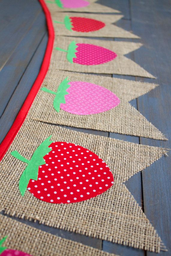 Strawberry Red Pink Burlap Bunting Banner Summer Party, First Birthday Party, Picnic, Nursery, Baby Shower, Backyard BBQ, Photo Prop by MsRogersNeighborhood Etsy shop