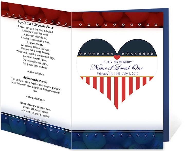 Funeral Order Of Service Programs: Hero Funeral Program Templates Patriotic  Style Printable Programs Great To  Printable Program Templates