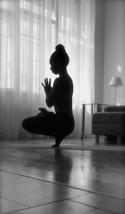 yoga in silhouette ~ Ardha Baddha Padma Prapadasana  - Half-Bound Lotus Tiptoe Pose (Preparation)