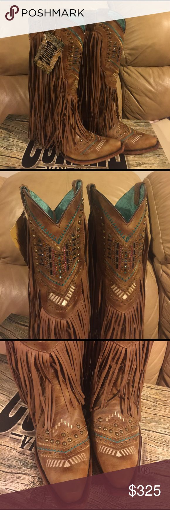 Corral Fringe Boots NWT Brand new beautiful Corral boots with the freaking cutest fringe!!! Never used, with tags!!! Priced to sell. Corral Vintage Boots Shoes Heeled Boots