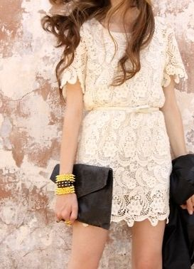 lacy dress + clutch: Fashion, Style, Clothes, Outfit, White Lace Dresses, Wedding Dress, Closet