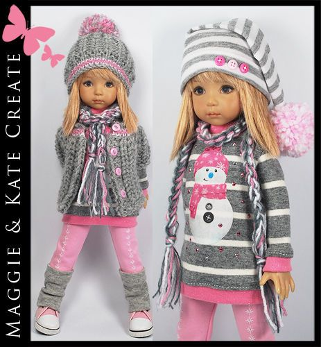 """Pink Gray & White WINTER Outfit for Little Darlings Effner 13"""" by Maggie & Kate"""