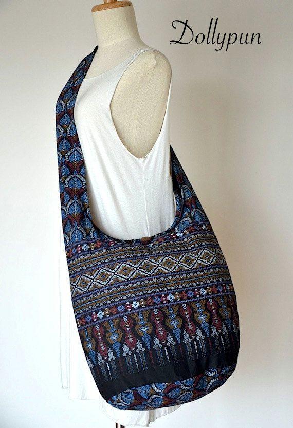 Traditional Thai Patterns / BLACK / Ethnic Hippie Purse and Fashion Cross Body Bag / Boho Hobo Messenger Bag DEP115