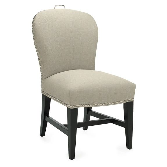 Maxwell Dining Side Chair With Handle Linen Solid White Polished Nickel