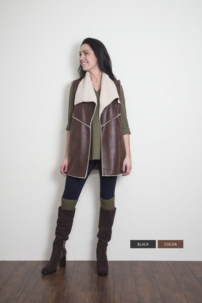Faux Leather Vest w/ Fleece Lining WB-VST-2 #fashion #fallfashion #retailtherapy #fashionista #unique #ontrend #newarrivals #cape #blanketscarf #scarves #bootsocks #accessorize #Mississauga #Streetsville #CraftedDecor