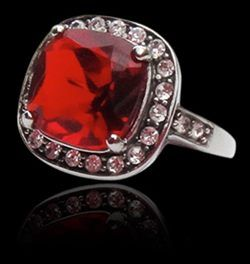 Cushion-cut glass stone in richest ruby-red makes a stunning statement atop strongest steel casing. White CZ's highlight the center stone for a glamorous effect. And really, why not look a little bit fabulous everyday?  Bette Noire's 316 steel & glass stone rings are each handmade to the highest quality standards. Buy with confidence that this is fashion jewellery made to last. Sizes 6-9. $24.00  Bette Noire Bijoux ~ Shimmering Essentials