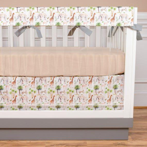 Jungle Crib Bedding Safari Baby Bedding Boy Nursery Neutral Nursery Giraffe Elephant Earth Tones Tan Gray Brown Rail Guards Safari Baby Bedding Jungle Crib Bedding Nursery Neutral