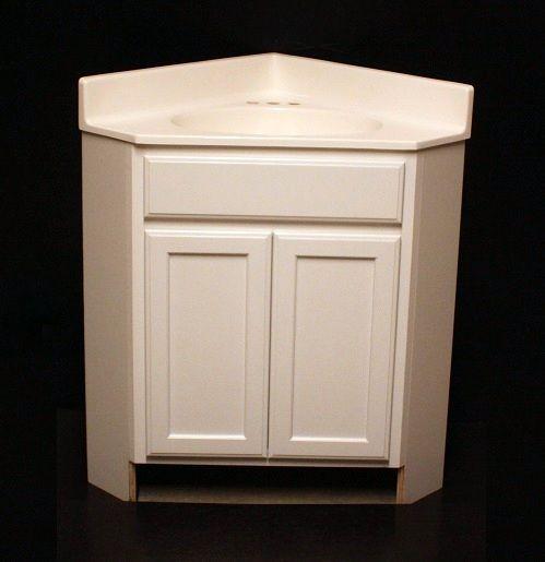 Kraftmad Angled Corner Bathroom Dove White Maple Vanity