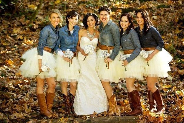 Cowboy cowgirl wedding jean jacket roses simple western boots short dresses, maybe with yellow skirts instead of white
