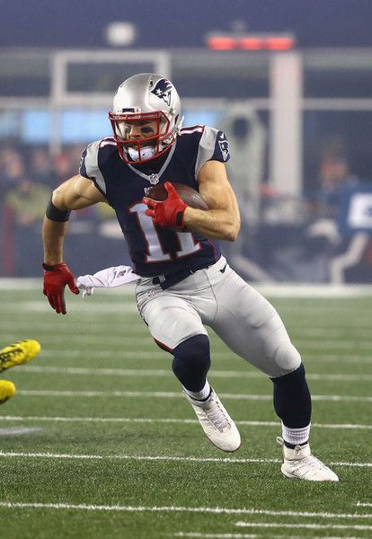 Julian Edelman Photos Photos - Julian Edelman #11 of the New England Patriots runs with the ball against the Pittsburgh Steelers in the AFC Championship Game at Gillette Stadium on January 22, 2017 in Foxboro, Massachusetts. - AFC Championship - Pittsburgh Steelers v New England Patriots