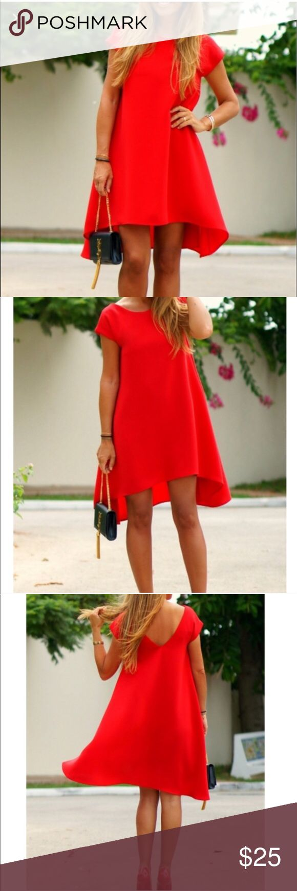 Red Dress Beautiful red dress perfect for a casual night out. Never used in perfect condition 🎈 vessos Dresses High Low