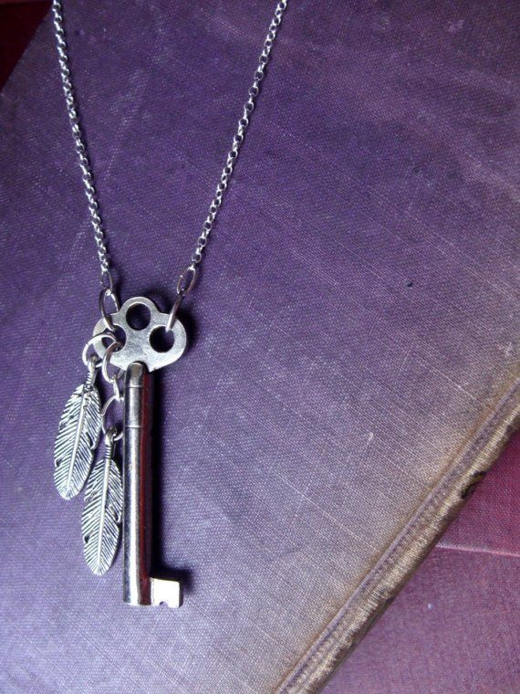 ON SALE  Lockfeather  OOAK Skeleton Key Necklace by luminoddities