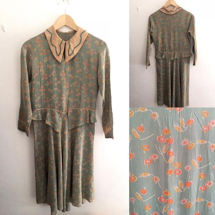 Ny produktBotan tryck silke klänning # fab. # Vintage # vintagefashion # 1920s # 1930s ...