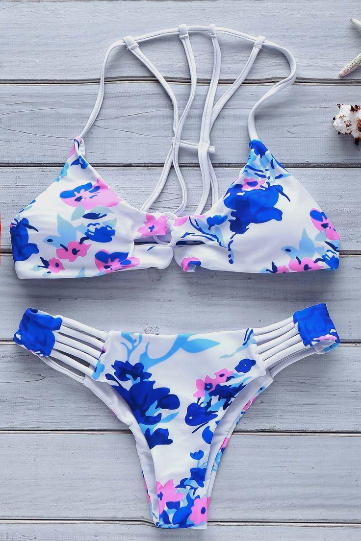 Blue Floral Print Cami Bikini Set