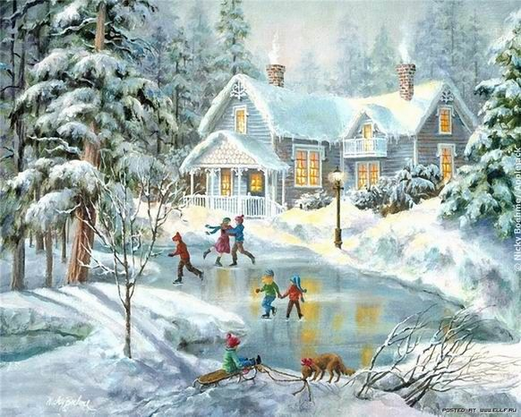 """A Fine Winter's Eve"" by Nicky Boehme. I'm secretly obsessed with snowy winter pictures and paintings."