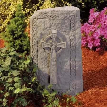 celtic cross garden stone