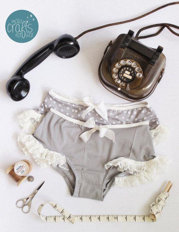 Vintage Panties, Ruffle Lace Panties, Vintage Style Lingerie, Handmade Lingerie