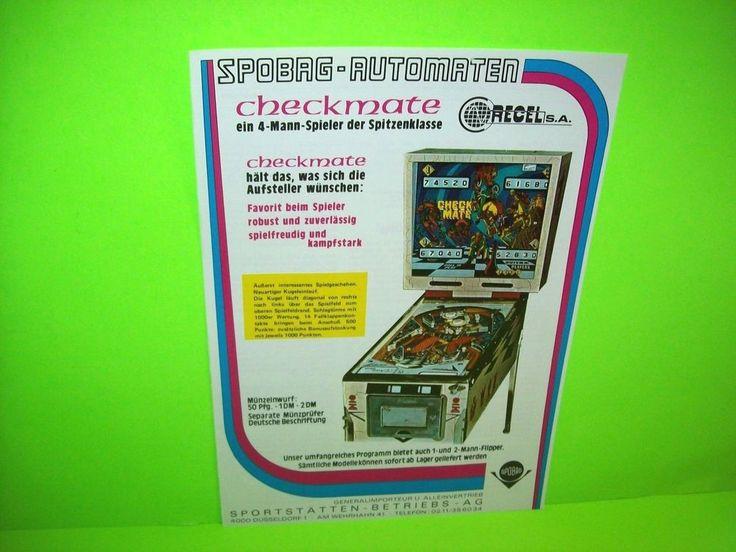 Recel 1975 CHECK MATE Original Flipper Pinball Machine Ad NOT A FLYER German  #Recel