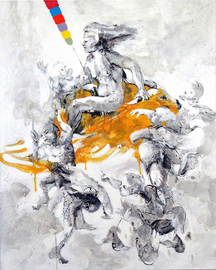 Janusz TyrpakTime to Albrecht Durer-Witch Ridinf on a Goat-Boerner#100 x 80 cm
