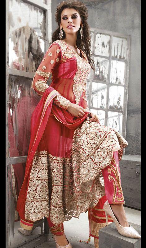 Red Net Embroidered Long Length Anarkali Churidar Dress