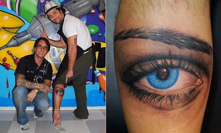 Bruno Gagliasso decidiu homenagear uma mulher muito especial com uma tatuagem de um grande olho azul. O desenho foi feito com o tatuador kiko que fez todas as suas tatuagens.