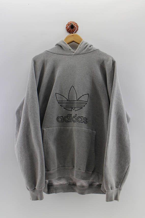 767d12c294c7 Vintage 80 s ADIDAS Sweater Men XLarge Adidas Trefoil Big Logo Spell Out  Hoodies Adidas Sport Usa Grey Pullover Jumper Men Size XL