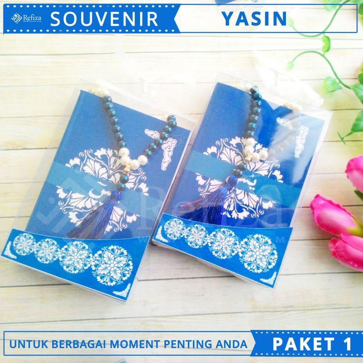 souvenir Yasin paket 1 dengan desain cover cantik. Siap menemani berbagai acara spesial anda.
