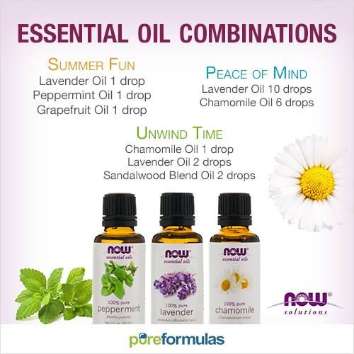 Essential Oil Combinations   Lavender Oil, Peppermint Oil, Grapefruit Oil, Chamomile Oil, Sandalwood Blend