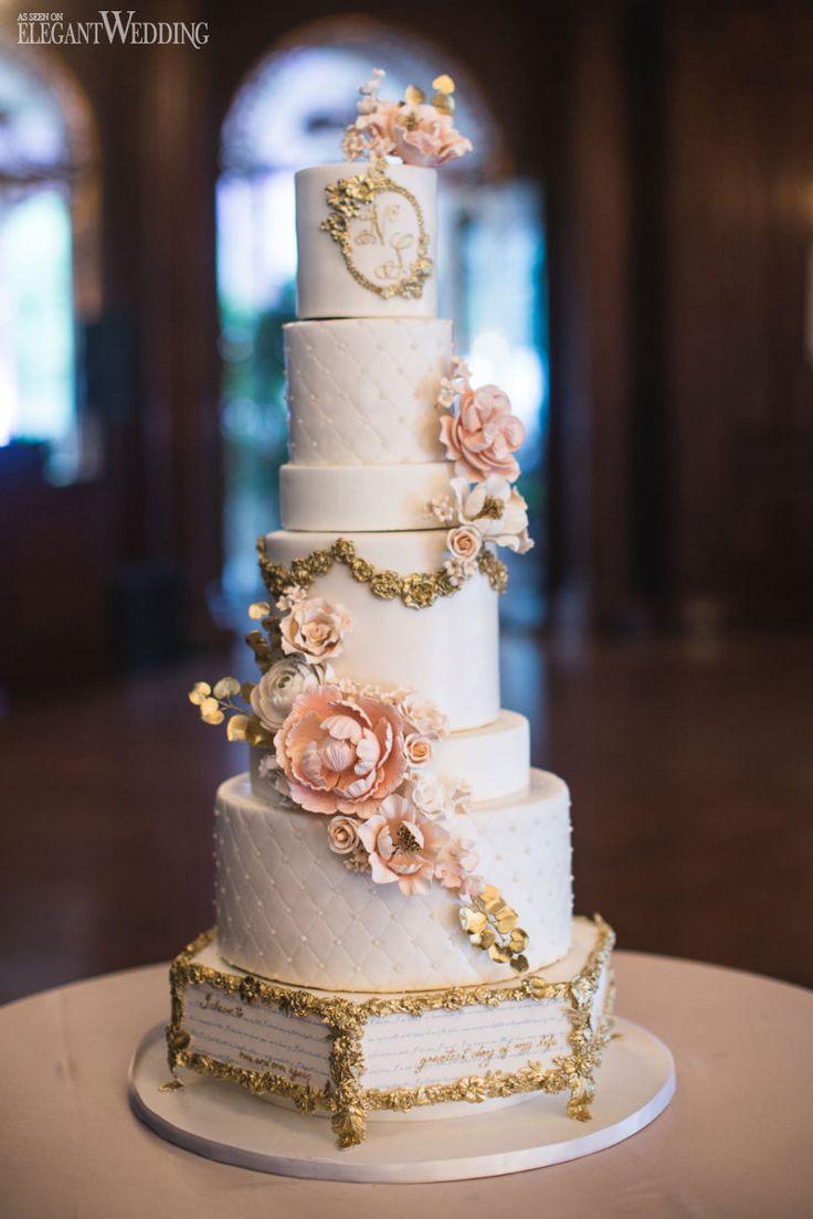 Fairytale wedding cake, storybook quote cake, gold and pink wedding cake, sugar flowers, wedding sweets, dessert, treats, wedding ideas A PINK STORYBOOK WEDDING IN TORONTO www.elegantwedding.ca