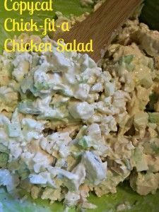Copycat Chick-fil-a Chicken Salad Recipe. Only a few ingredients, some of which include pickle relish and hard-boiled eggs.