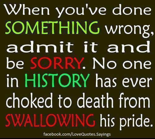 HER OR HIS PRIDE -Own Your Mistakes- So true :)) Don't Blame Others for Mistakes You Do !! :)
